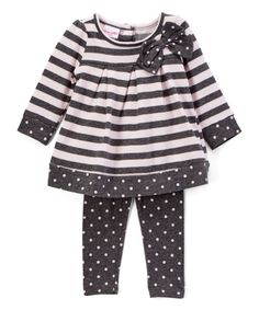 Take a look at this Gray Stripe Top & Leggings - Infant, Toddler & Girls today!