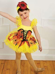 RV211 Костюм для танцев #подсолнечник -гимнастический купальник и пышная юбка из органзы солнечно-желтого цвета с ярко-красным цветочным принтом. Декоративные рюши на плечиках и на юбочке можно купить на сайте https://www.dancedirect.ru/StoreProductRU.aspx?pid=14728