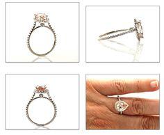 14K Morganite Engagement Ring Diamond Halo Pear by RareEarth,
