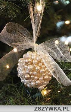 pearls on a styrofoam ball