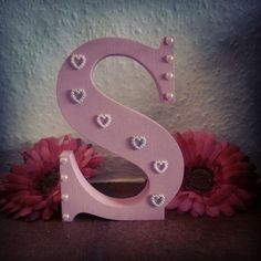 Freestanding Wooden Letter ' S ' in pink with pearl heart gems to finish.