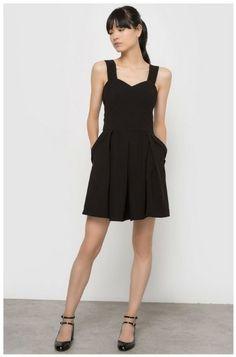 Black little dress+black ankle strap pumps. Late Summer evening outfit 2016