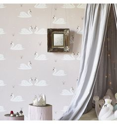 Tapeta Swan pale rose Hibou Home - Sklep internetowy SCANDIKIDS