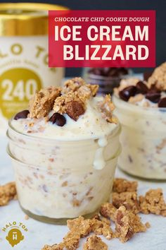 Dive into this decadent sweet treat that's low in added sugar but filled with flavor, protein and fiber! Join the Halo Top revolution and whip up this healthy Chocolate Chip Cookie Dough Ice Cream Bli (Halo Top Icecream Recipes) Frozen Desserts, Frozen Treats, Healthy Desserts, Just Desserts, Delicious Desserts, Dessert Recipes, Yummy Food, Top Recipes, Light Desserts