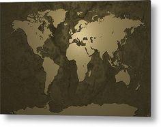 World Map Gold Metal Print By Michael Tompsett