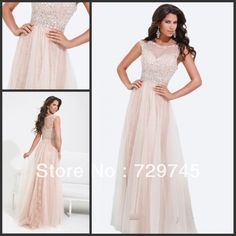 2014 New Spring Summer Tony Bowl Beading A Line Sheer Champagne Chiffon Long Lace Prom Dresses Evening Dress Party Dress Gown