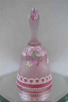 Fenton BELL MINI Madras Pink Satin DANGLING BUDS, Heart Lace * OOAK *FREEusaSHIP