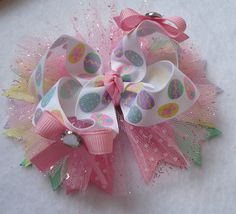 Easter Hair Bow Large Boutique Bow Pastel by LizzyBugsBowtique