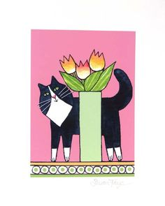 Whimsical Cat Art Print/ Longhair Tuxedo Kitty with Tulips by Susan Faye by SusanFayePetProjects on Etsy