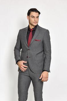 Ανδρικό κοστούμι γκρι μικροσχέδιο σε στενή γραμμή Blazer, Jackets, Men, Fashion, Down Jackets, Moda, Fashion Styles, Blazers, Jacket