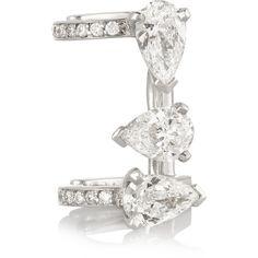Repossi Serti Sur Vide 18-karat white gold diamond ear cuff ($30,900) ❤ liked on Polyvore featuring jewelry, earrings, rings, accessories, ear cuff, white gold, druzy earrings, earring ear cuff, 18k earrings and white gold jewelry