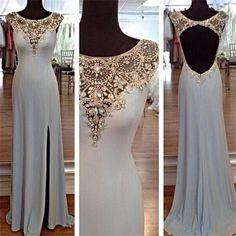 Long Sexy Cap Sleeves Open Back Elegant Side Split aDiscount Popular Prom Dresses, PD0097