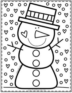 Snowman Coloring Page – Coloring Club — From the Pond Holiday Coloring… - Grundschule Christmas Activities, Winter Activities, Preschool Activities, Snowman Coloring Pages, Colouring Pages, Fairy Coloring, Winter Art, Winter Theme, Winter Club