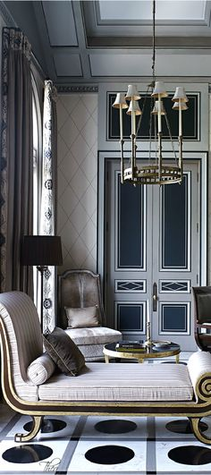 All about the details. From the trim on the drapery to the wallpaper to the crown molding to the doors and floors. This room illustrates how little details all add up to create one impactful space!