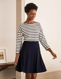 Julie Skirt Cute Skirts, Navy Women, Elegant, Capsule Wardrobe, Skater Skirt, How To Make, Shopping, Navy Skirt, Hero