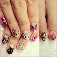 my 2 favorite anime shows in college were sailor moon and fushigi yugi... Here is the awesome nails for sailor moon fans.... Look at gorgeous Luna and Artemis... pretty kitties.