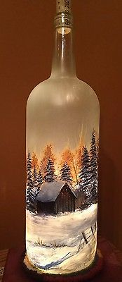 Large Hand Painted Frosted Glass Lighted Wine Bottle With Trees And Barn | Home & Garden, Home Décor, Bottles | eBay!
