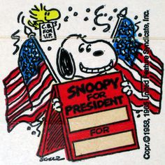 Back the beagle in this year's presidential election. Dolly Madison produced these premiums back in the 1970′s featuring the Peanuts gang supporting Snoopy for President, Charlie Brown for VP and Lucy for Secretary of State. Each sticker has a window to put in your name or favorite candidate's name. Sold as a set with 12 different designs at CollectPeanuts.com.