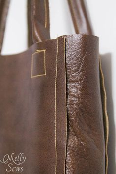 Love the raw edges on this Leather Tote Tutorial - Melly Sews - #diy #sewing #tutorial