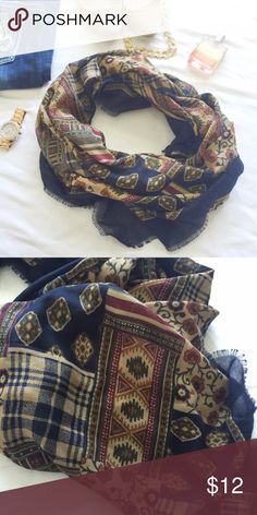 "Burgundy, green, navy, cream square scarf for fall This is a great addition to your fall closet. Pretty different prints all over this large square scarf that wraps perfectly around the neck. Looks great with a light top and leggings! Measures 46""x46"" Accessories Scarves & Wraps"