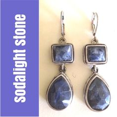 🍂SALE🍂Slate blue silver drop earrings - Sodalite Was $89 | 💎💎These beautiful dangle earrings have lovely intricate diamond and lines designs on the silver tone sides and look superb with so many colors. Stamped 'KC' inside bottom teardrop. Materials unknown, however stones are lovely and appear to be genuine Sodalite. Second photo most representative of color - gorgeous  grey-blue stones! Jewelry Earrings