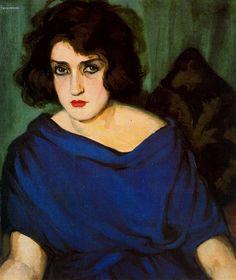Tamara de Lempicka(Polish, 1898 – 1980)Portrait de jeune femme en bleu,1922 Тамара де Лемпицка(Польский, 1898-1980)Портрет молодой женщины в синем, 1922 塔玛拉 的 妲(波兰语,1898-1980)肖像的年轻女子在蓝色的,1922年