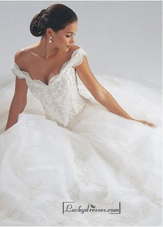 Beautiful Satin Off-the-Shoulder Wedding Dress Sale On LuckyDresses.com With Top Quality And Discount