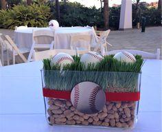 Baseball Party Centerpieces, Banquet Centerpieces, Baseball Theme Birthday, Braves Baseball, Baseball Gifts, Atlanta Braves, Bar Mitzvah, Spikes Baseball, Invitation Cards