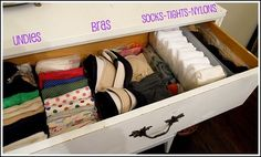 Great ideas for organizing clothes. Especially like the idea of folding tanks & tees to be stored vertically, so you can see them all at a glance!
