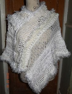 Exclusive hand crochet white poncho or wrap