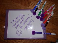 Found this great idea for using pom poms as expo marker erasers.