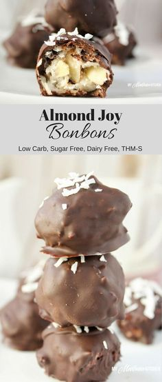 Homemade Almond Joy Bonbons is chocolate covered candy filled with creamy coconut, chocolate chips and almonds. These chocolate delights are dairy free, low carb, and sugar free. #almondjoy #bonbons #sugarfree Desserts Sains, Köstliche Desserts, Sugar Free Desserts, Sugar Free Recipes, Candy Recipes, Dessert Recipes, Paleo Dessert, Sugar Free Candy, Holiday Desserts