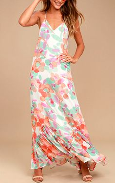 Bright Future Cream Print Maxi Dres @bestmaxidress