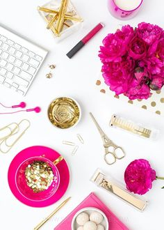 Product Styling, Prop Styling, and Photography by Shay Cochrane   www.shaycochrane.com   fuchsia pink and gold desktop