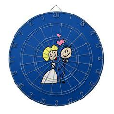 #Bride and Groom Cute Cartoon Simplicity Dart Board - #GroomGifts #Groom #Gifts Groom Gifts #Wedding #Groomideas