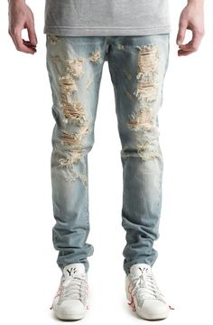 Embellish Denim Vignale Ripped Light Blue Wash Blue, The Embellish Vignale Ripped Denim in Light Blue Wash      Zip fly with button closure     5-pocket style     Medium distressing     Light wash     Slim fit     Machine wash cold     100% cotton     Made in USA  By Embellish