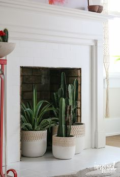 Fireplace Fix-Up - Inspired by Charm Fireplace Filler, Fireplace Hearth Decor, Empty Fireplace Ideas, Unused Fireplace, Candles In Fireplace, Fake Fireplace, Farmhouse Fireplace, Fireplace Remodel, Fireplace Design