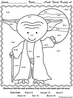 May The Facts Be With You ~ Color By The Code Math Puzzle Printables!    Use the children's love of Star Wars to practice basic addition and subtraction math facts as well as odd and even number recognition.    This set includes 4 math puzzles:    ~ One Color By The Sum     ~ One Color By The Difference     ~ One Color By The Sum and Difference     ~ One Color By The Sum Odd or Even    Set also includes 4 answer keys.  $