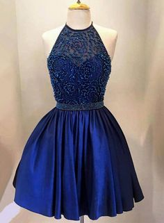 2016 New Homecoming Dresses Halter Illusion Lace Pearl Beaded Royal Blue Satin Short Mini Sweet 16 Party Graduation Formal Cocktail Gowns Online with $109.55/Piece on Yes_mrs's Store | DHgate.com