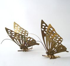 vintage brass butterfly wall hanging set of 2 by RecycleBuyVintage, $15.00