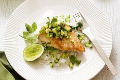 Fish with avocado salsa