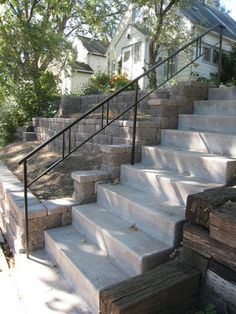 Another simple design with craftsman lines - O'Brien Ornamental Iron Exterior Step Rails Outside Stair Railing, Porch Step Railing, Exterior Stair Railing, Outdoor Stair Railing, Wrought Iron Stair Railing, Staircase Handrail, Porch Steps, Railing Design, Railing Ideas