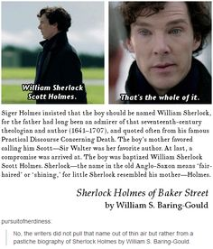 And Sherlock means shining and fair-headed, like Sherlock, even though he's got black hair. But Sherlock is an honest to God prince I'm sure of it! Sherlock Holmes, Sherlock Fandom, Sherlock Humor, Sherlock John, Martin Freeman, Benedict Cumberbatch, Vatican Cameos, Mrs Hudson, Sherlolly