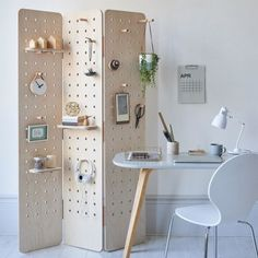 Pegboard Room Divider Folding Screen - Home Professional Decoration Folding Screen Room Divider, Diy Room Divider, Room Screen, Folding Screens, Panel Room Divider, Pegboard Display, Pegboard Organization, Organization Ideas, Large Shelves