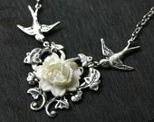 Black Rose Necklace With Vintage Swallows. $32.00, via Etsy.