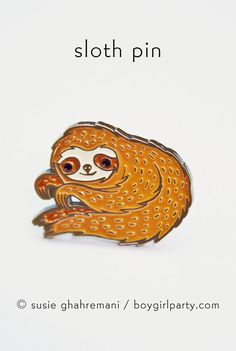 You will receive this enamel pin featuring an adorable yet creeper sloth by Susie Ghahremani / boygirlparty.com  This sloth pin is made of iron with a brass colored finish and four colors of enamel, this pin measures approximately 1 tall and features two butterfly clasps on the back.  Please be advised that this pin is small and therefore not suitable for kids.  Artwork by Susie Ghahremani / boygirlparty ®  To visit my entire illustrated jewelry collection (including more pins! as well as…