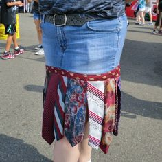 While at the Puyallup Fair today my mom and I saw a woman walk by wearing this adorable necktie skirt. We asked if we could take her picture and she was so sweet to agree.