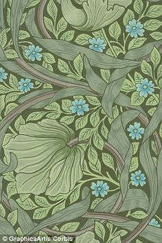 1126502 William Morris Wallpaper Sample with Forget-Me-Nots, (colour woodblock print) by Morris, William (info.: Wallpaper sample with forget-me-not flowers and ranunculus leaves by William Morris, woodblock print, William Morris Wallpaper, Morris Wallpapers, Art Deco Wallpaper, Wallpaper Samples, Pattern Wallpaper, Wallpaper Stairs, Paisley Wallpaper, Paisley Art, Green Wallpaper