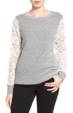 Halogen® Lace Detail Crewneck Sweater (Regular & Petite) available at #Nordstrom