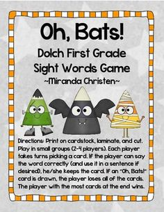 Oh, Bats! FREEBIE Dolch First Grade Sight Words Halloween Game (1st Grade)